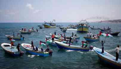 مسيرة بحرية في غزة
