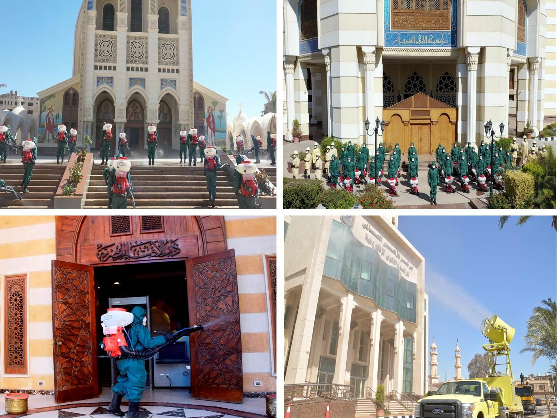 الجيش المصري يعقم مشيخة الأزهر والكاتدرائية المرقسية بالعباسية