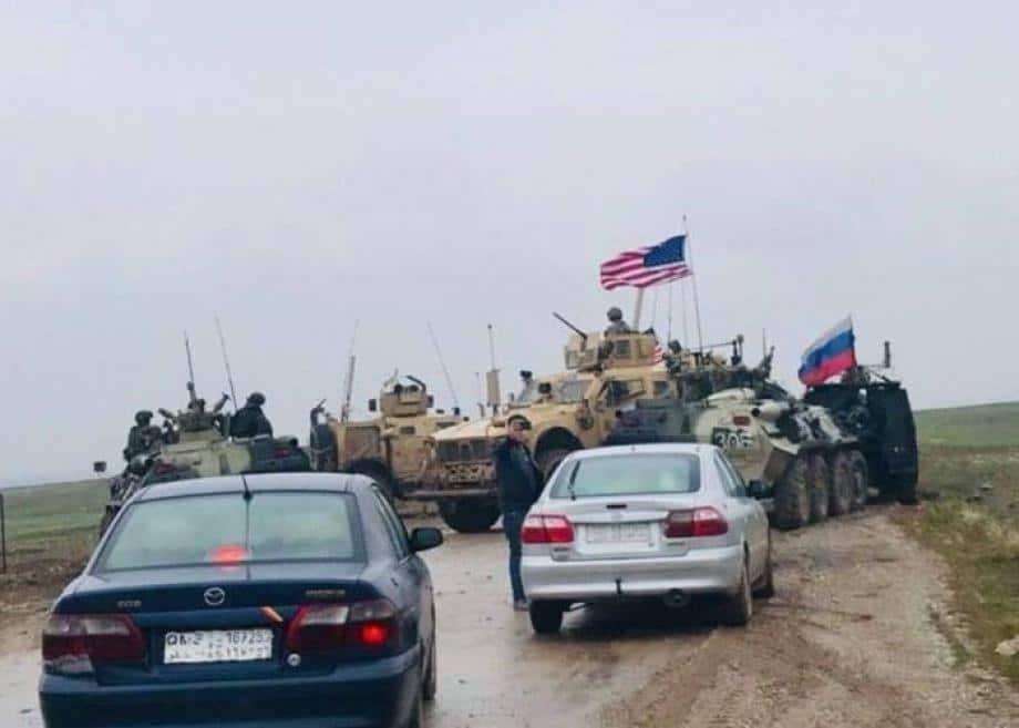 دورية أمريكية تعترض رتلاً روسياً في الحسكة