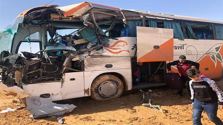 انقلاب حافلة طلاب مدارس في مصر