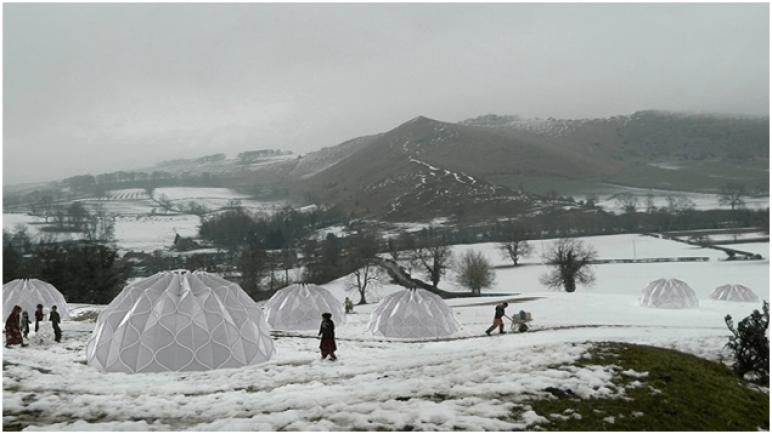 """""""نسج منزل"""" مقترح مشروع تصميم مفاهيمي لمخيمات اللجوء"""